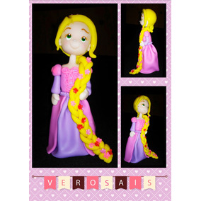 Adorno De Torta Rapunzel Porcelana Fria Frozen