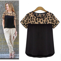 Blusa Camisa Remera Negra Gasa Animal Print Leopardo Mujer