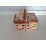 Kit Mini Cestinha Vime Bambu Piquenique(4unid)19x13x10alt