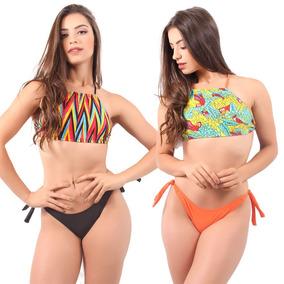 Kit 10 Biquíni Cropped Feminino Verão Atacado Top Estampado