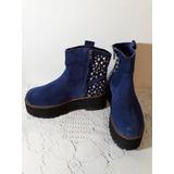 Botitas De Gamuza Azul Con Tachas Livianas Impecables 36