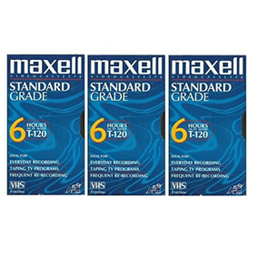 Maxell Vhs Blank 3-pack Standard Grade T-120 6 Hour Ep Mode