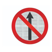 Placa Sentido Proibido R-3  C/ Adesivo Refletivo Cm