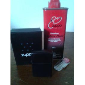 Zippo Original Negro Mate Con 4 Piedras Bencina Zippo Y Caja