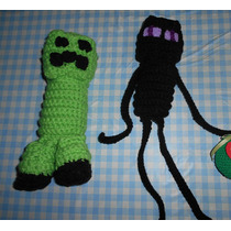 2 Muñecos De Minecraft - Creeper Y Enderman - Amigurumi