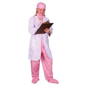 Disfraz De Medico Para Niña Talla L - Rosado