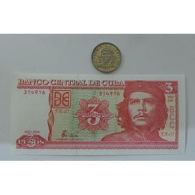 Moneda Y Billete Che Guevara Cuba 3 Pesos Con Envío!