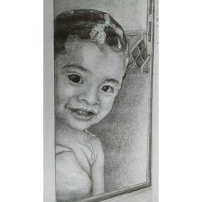 Retrato A Lápiz Media Carta (21x14.5cm) En Papel Para Dibujo
