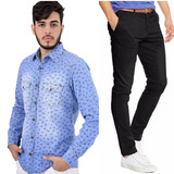 Camisa Amil Slim Fit + Calça Masculina C/ Lycra 4 Cores