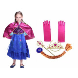 Disfraz Princesa Noruega +accesorios Anna Ana Frozen Vestido