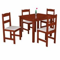 Conjunto De Mesa Com 4 Cadeiras Arauna Praiana Amêndoa