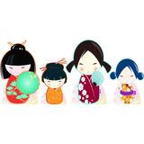 Display De Chão Para Festa Kokeshi Bonecas Japonesas 4 Peças