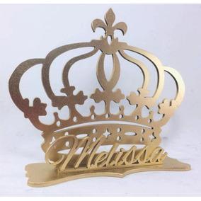 Centro De Mesa Realeza Coroa Festa Menina 33 Un. Mdf Pintado