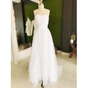 Vestido De Novia Strapless Blanco Largo Y Economico