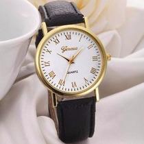 Relógio Feminino Geneva Números Romanos Cor Preta