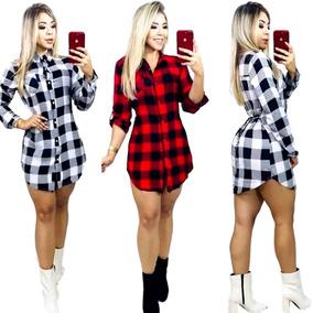 Vestido Feminina Xadrez Laço Camisão Moda Chemise