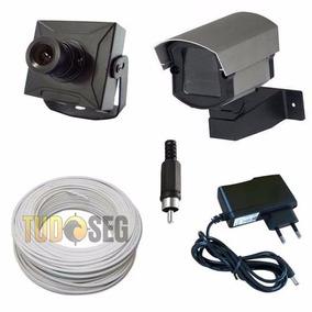 Kit 1 Micro Câmera Com Caixa De Proteção + Cabo 20 Metros