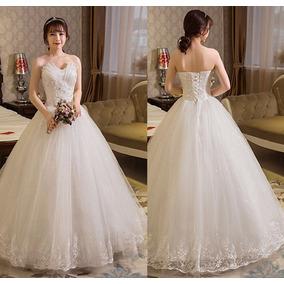 Vestido Noiva Princesa Renda Na Borda Decote Leque Debutante
