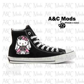 Converse Hello Kitty Vestido De Novia Negro Pintado A Mano