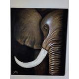 Cuadro Al Oleo Elefante