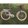 Bicicleta Aro 26 Feminina Retro Cor Cafe Cesta Vime Pneu Mar