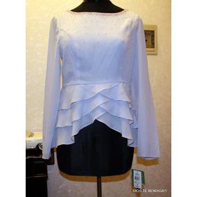 Elegante Blusa Noche Piedreria Drapeado Tm