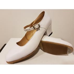 Zapatos Danza Folklorica Para Dama Blanco Piel Envío Gratis
