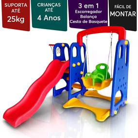 Playground Para 05 Crianças Infantil Plástico 3 Brinquedos