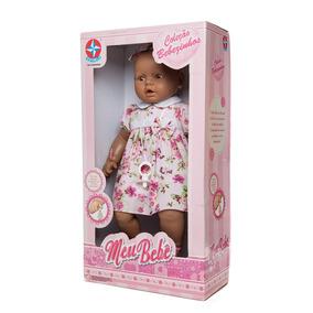 Boneca Meu Bebê Negra 53 Cm - Estrela Vestido Rosa
