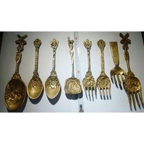 Cucharas Antiguas Y Tenedor De Bronce, A Eleccion Antiguedad