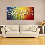 Quadro Pintura Tela Abstrato Moderno 140x70 Montado Pronto