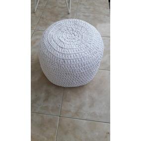Almohadón Puff Tejido Al Crochet Con Totora