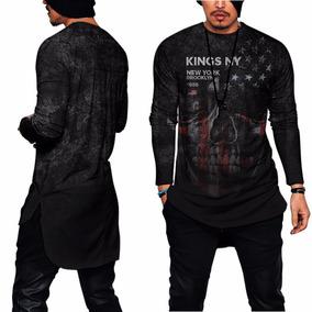 Camisa Oversized Long Line Raglan New York Ny Kings Swag