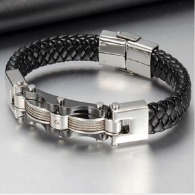 Pulseira Masculina Bracelete Couro Aço Inox 316 Promoção