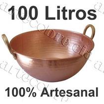 Tacho De Cobre Puro De 100 Litros 74cm Diâmetro Artecobre.