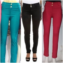 Kit 4 Calça Jeans Feminina Coloridas Botão Super Confortavel