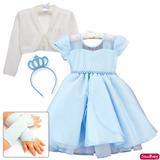 Vestido Princesa Frozen Cinderela Infantil Coroa Luva Bolero