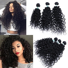 Synthetic Human Hair Extensions 3 Bundles Kinky Curly Wave H