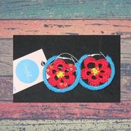 Aros  Tejidos Flor Rojo Con Azul