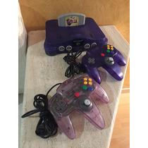 Nintendo 64 Morado Y Zelda Ocarina Of Time Con 2 Controles.