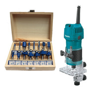Recortador 1/4 Makita 3709 + Jgo Brocas P/router Th-br15