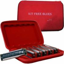 Kit Gaita Hering Free Blues 70120 6 Harmonicas Com Estojo Nf