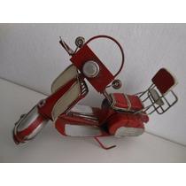 Réplica, Miniatura Antiga Moto Wespa Retrô Em Metal