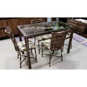Jogo Mesa Jantar C/ 4 Cadeiras Cozinha Fibra Sintética Vime