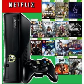Videogame Xbox 360 Slim Joga On Line + 10 Jogos + Bateria