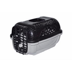Caixa Transporte Plástica Preta Cães E Gatos Filhotes N1