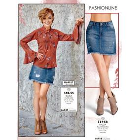Mini Falda Color Azu Mezclilla 334-52 Cklass