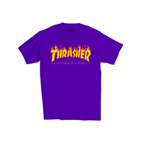 Playera Thrasher Flamas Skate Negra-blanca-azul-gris-amarill