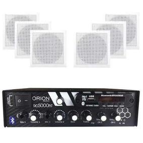 Kit Som Ambiente 300w Bluetooth + 6 Caixas Quadrada Brancas