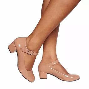 Sapato Feminino Boneca Salto Baixo Nude Super Confortável